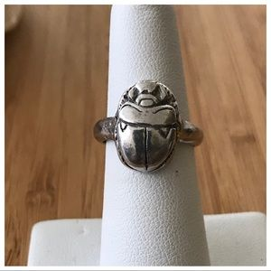 Vintage Sterling Silver Scarab Ring, Size 7